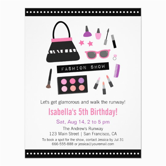 makeup fashion show birthday party invitations 256225325472793448