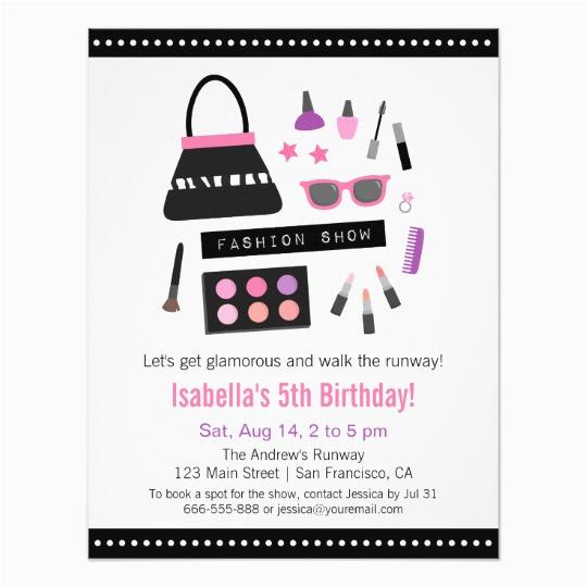 makeup fashion show birthday party invitations 256225325472793448
