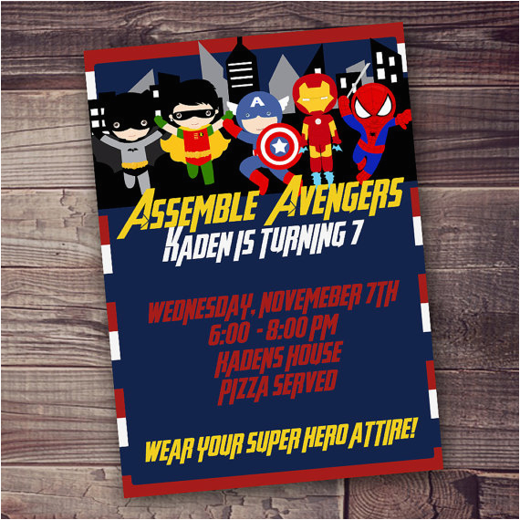 Fast Birthday Invitations Customized Superhero Invitation Avengers