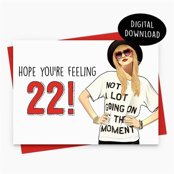 feeling 22 birthday card
