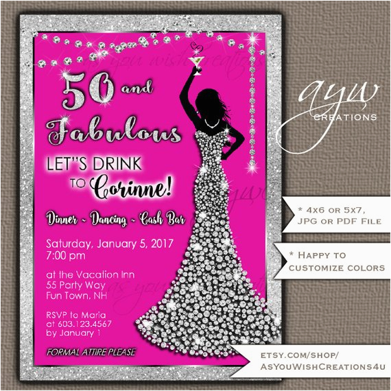 Female 50th Birthday Invitations Party Woman Bling Dress Fifty