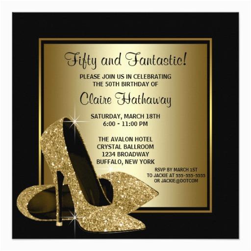 Female 50th Birthday Invitations Black Gold High Heels Womans Party Invitation