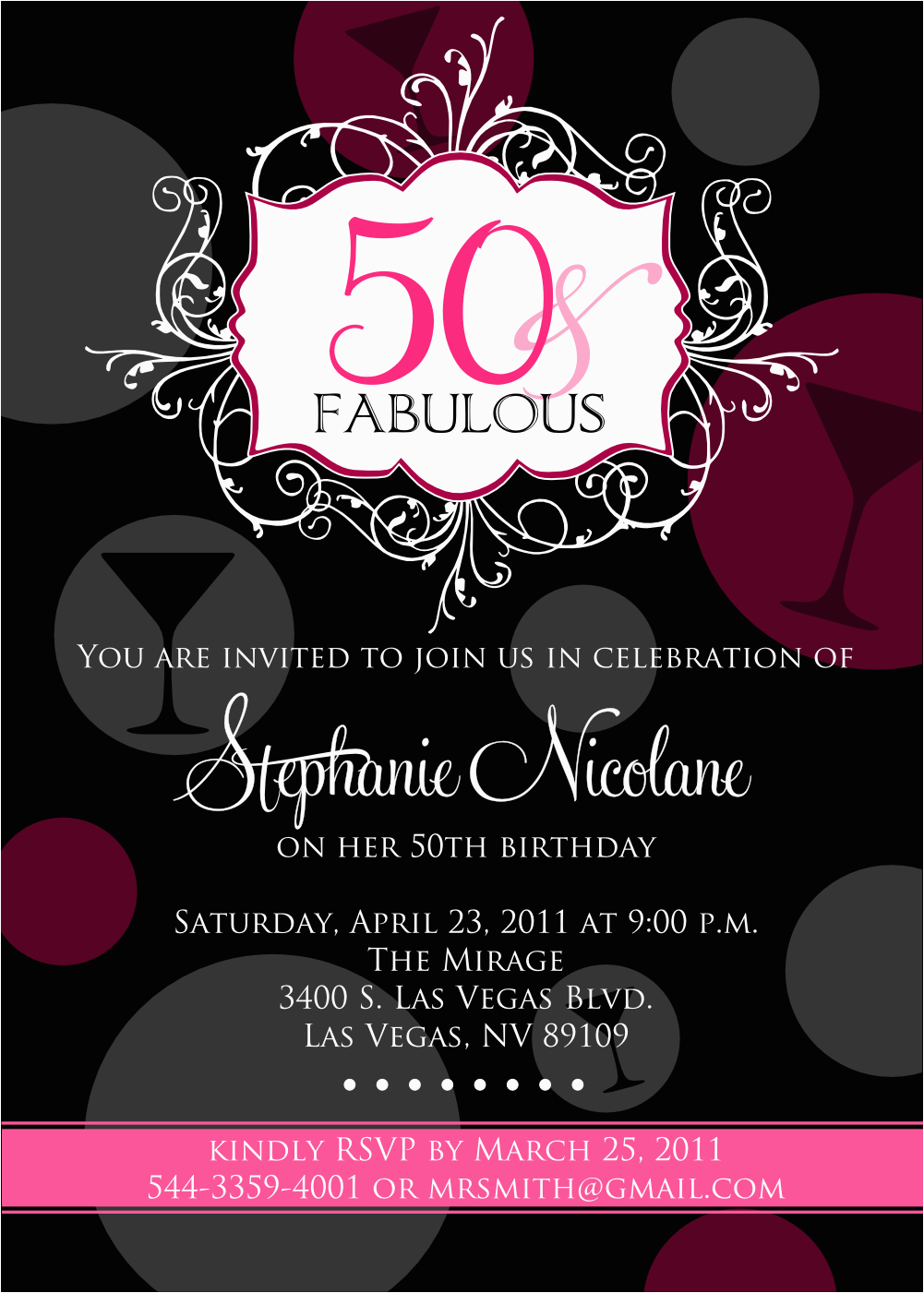 Female 50th Birthday Invitations Free Printable For Women