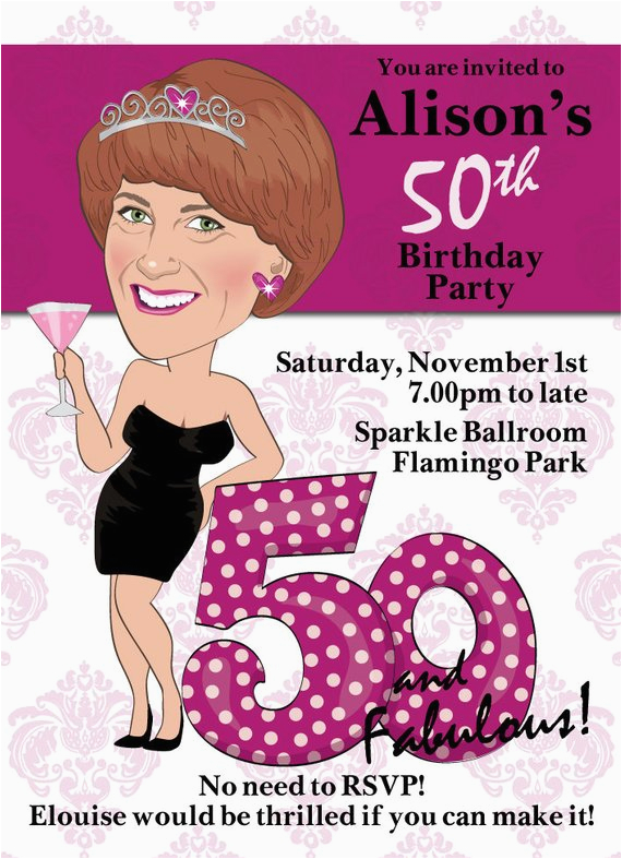 Female 50th Birthday Invitations Women 39 S Party Invitation Illustrated From