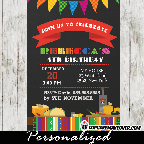 Fiesta themed Birthday Invitations Mexican Fiesta Birthday Party Invitation Personalized