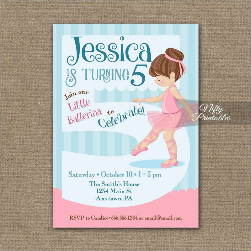 Fifth Birthday Party Invitation 5th Birthday Invitation Ballerina Tutu Invitation