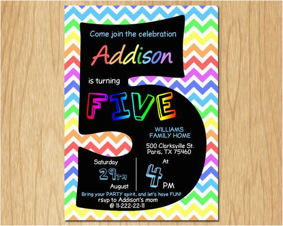 5th birthday invitation rainbow chevron pastel