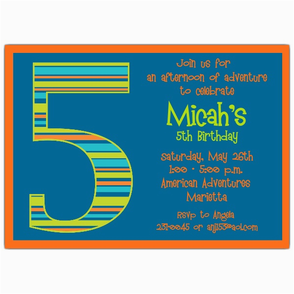Fifth Birthday Party Invitation Wording Boy Stripes 5th Invitations Paperstyle