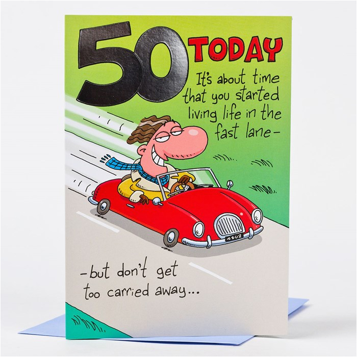 50th birthday card red convertible only 59p