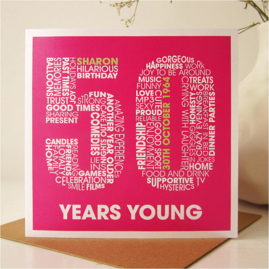 personalised 50th birthday card by mrs l cards