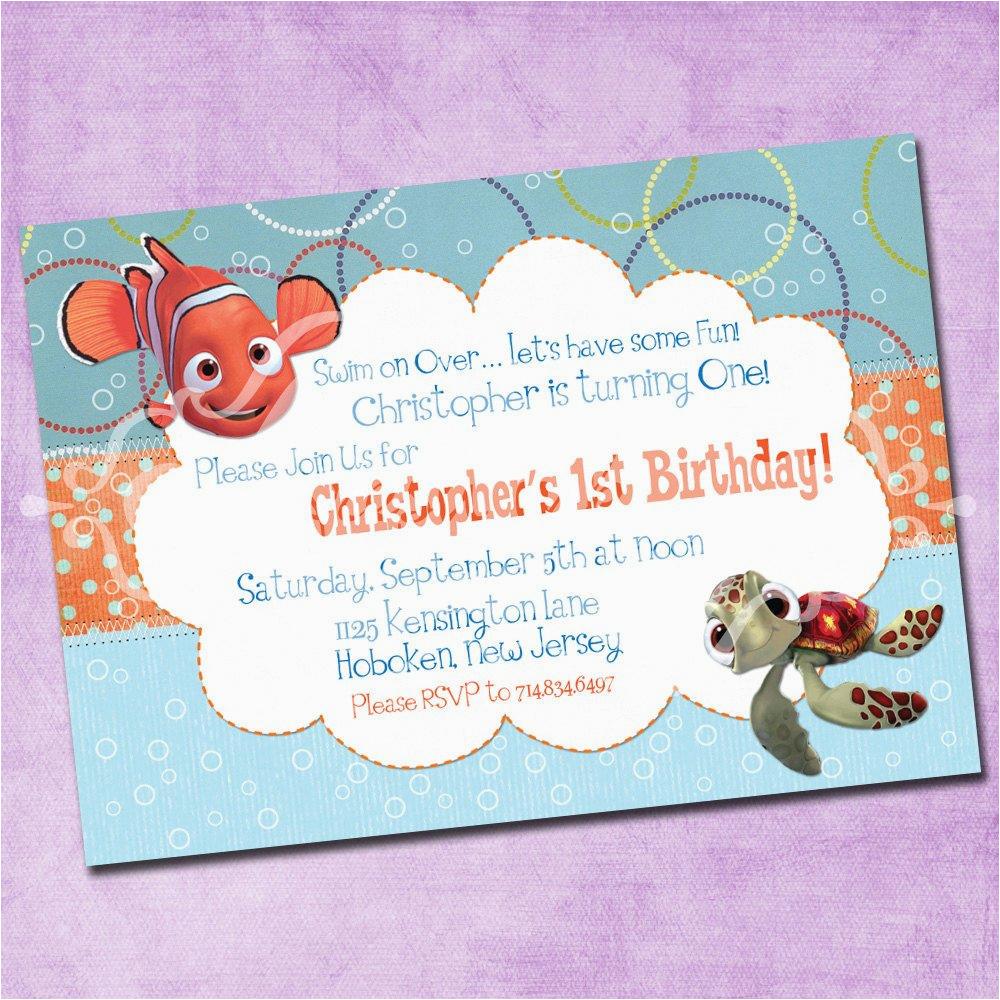 Finding Nemo Birthday Party Invitations Finding Nemo Birthday Invitation