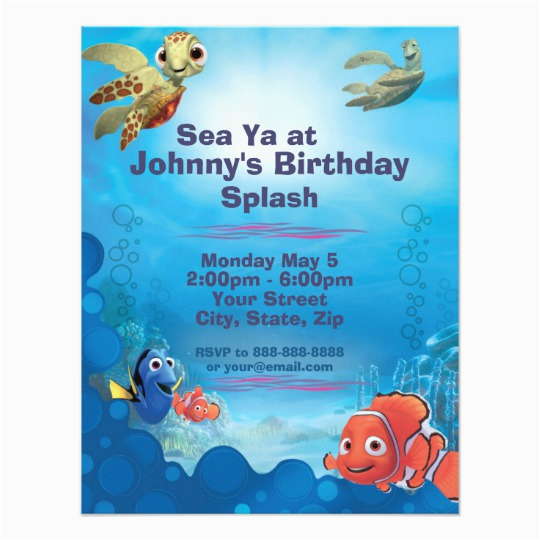 Finding Nemo Birthday Party Invitations Finding Nemo Birthday Invitation Zazzle Com