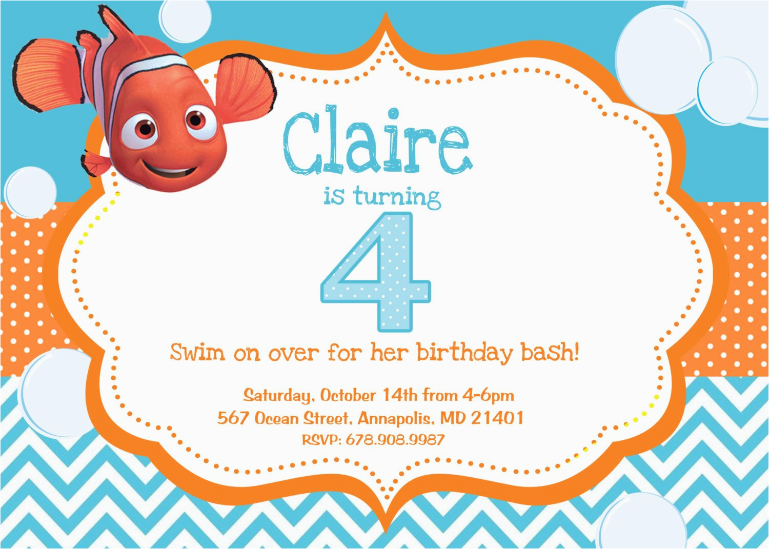 Finding Nemo Birthday Party Invitations Finding Nemo Birthday Party Invitation Digital File