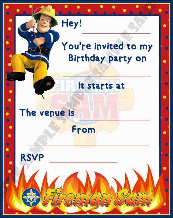 Fireman Sam Birthday Invitations Fireman Sam Birthday Party Invitations Invites by Shazian