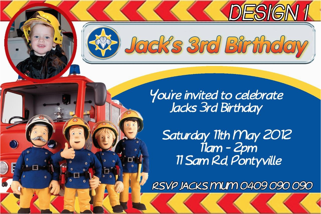 Fireman Sam Birthday Invitations Personalised Fireman Sam Birthday Invitation Party Invite