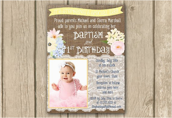 First Birthday And Baptism Invitation Wording Pastel Baptism 1st