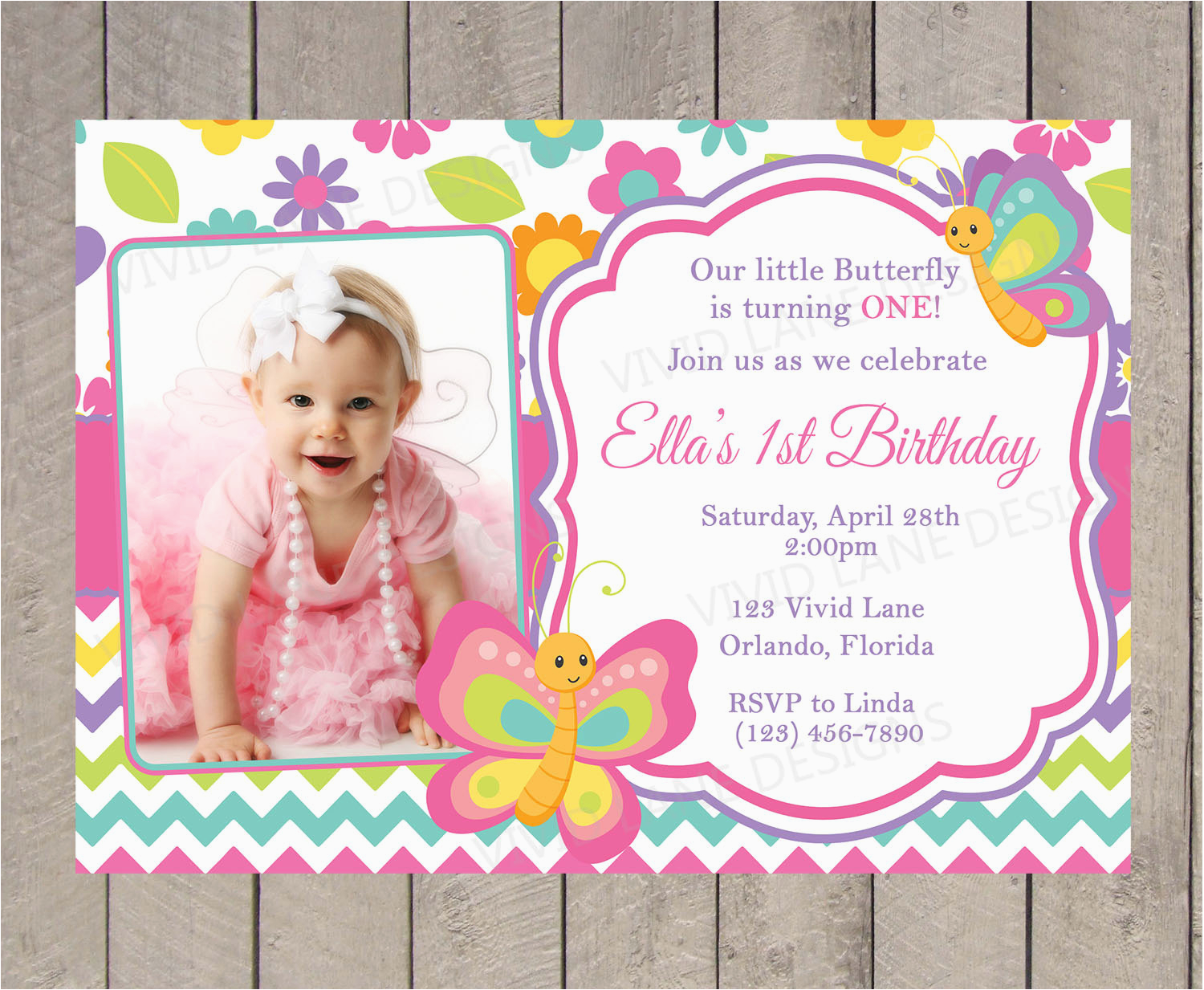 First Birthday Butterfly Invitations Butterflies Invitation Spring