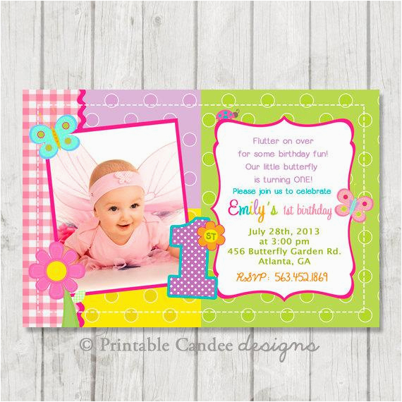 First Birthday Butterfly Invitations 1st Invitation Diy Custom By