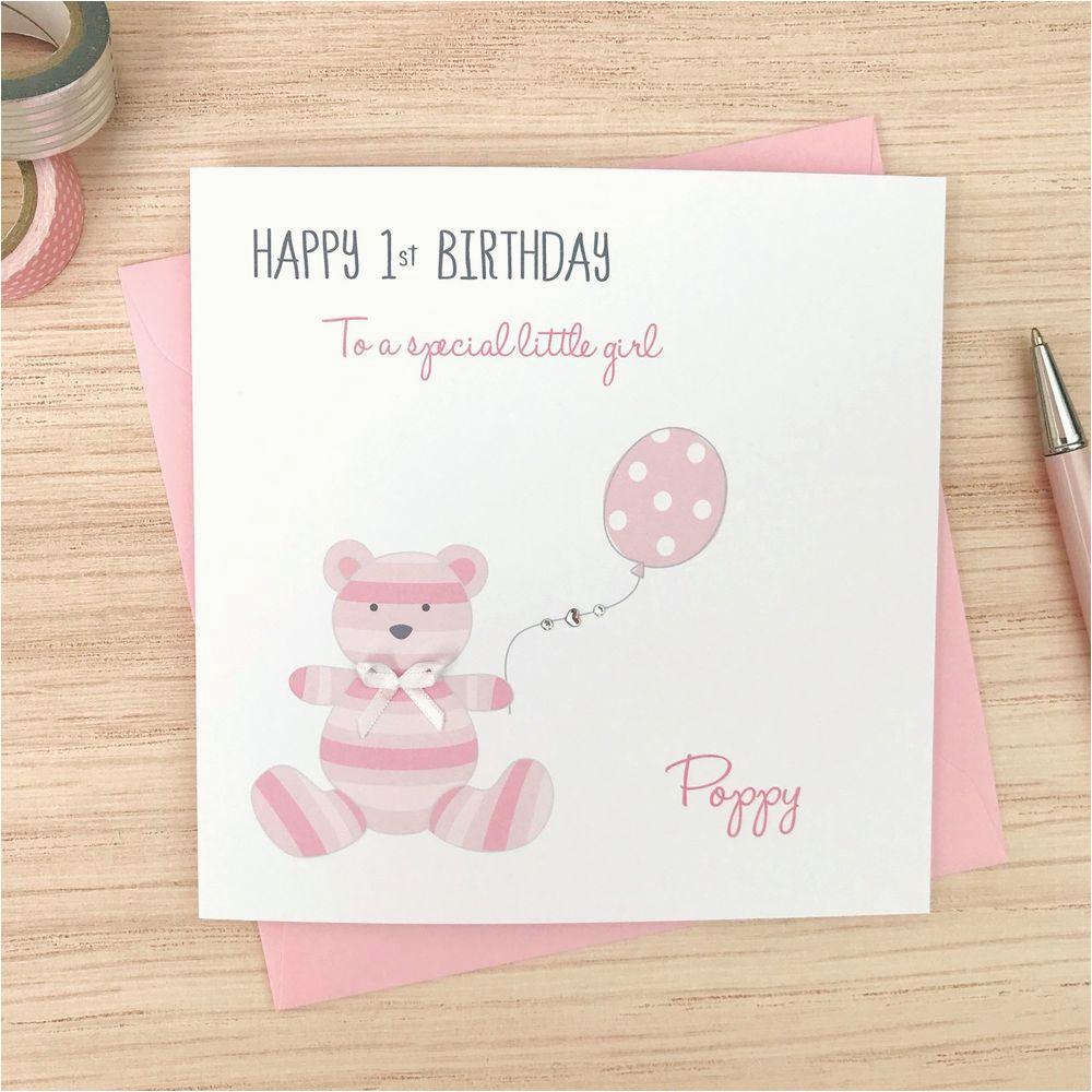First Birthday Cards For Baby Girl Handmade Personalised Girls 1st Card Teddy Ebay