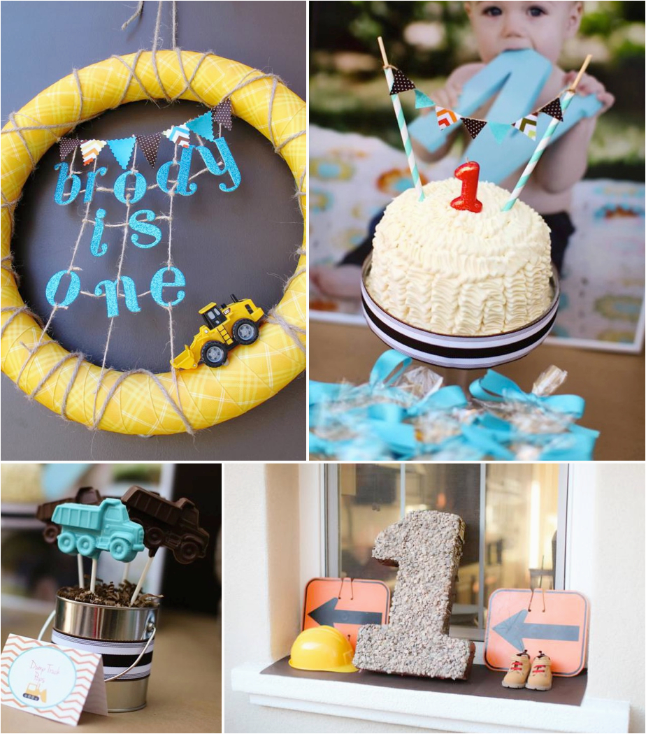 First Birthday Decoration Ideas For Boys Kara 39 S Party Construction Truck Themed 1st