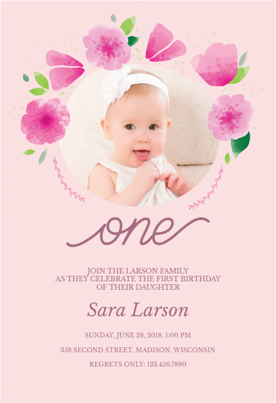 First Birthday Ecard Invitation Free Flowers Frame Template