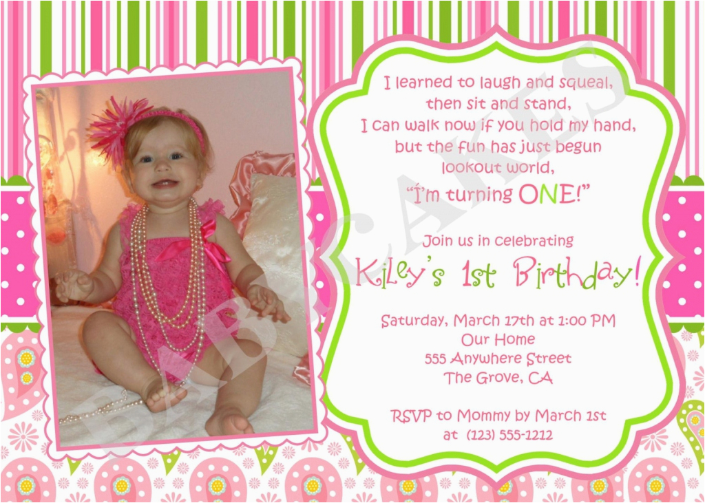 First Birthday Ecard Invitation Free