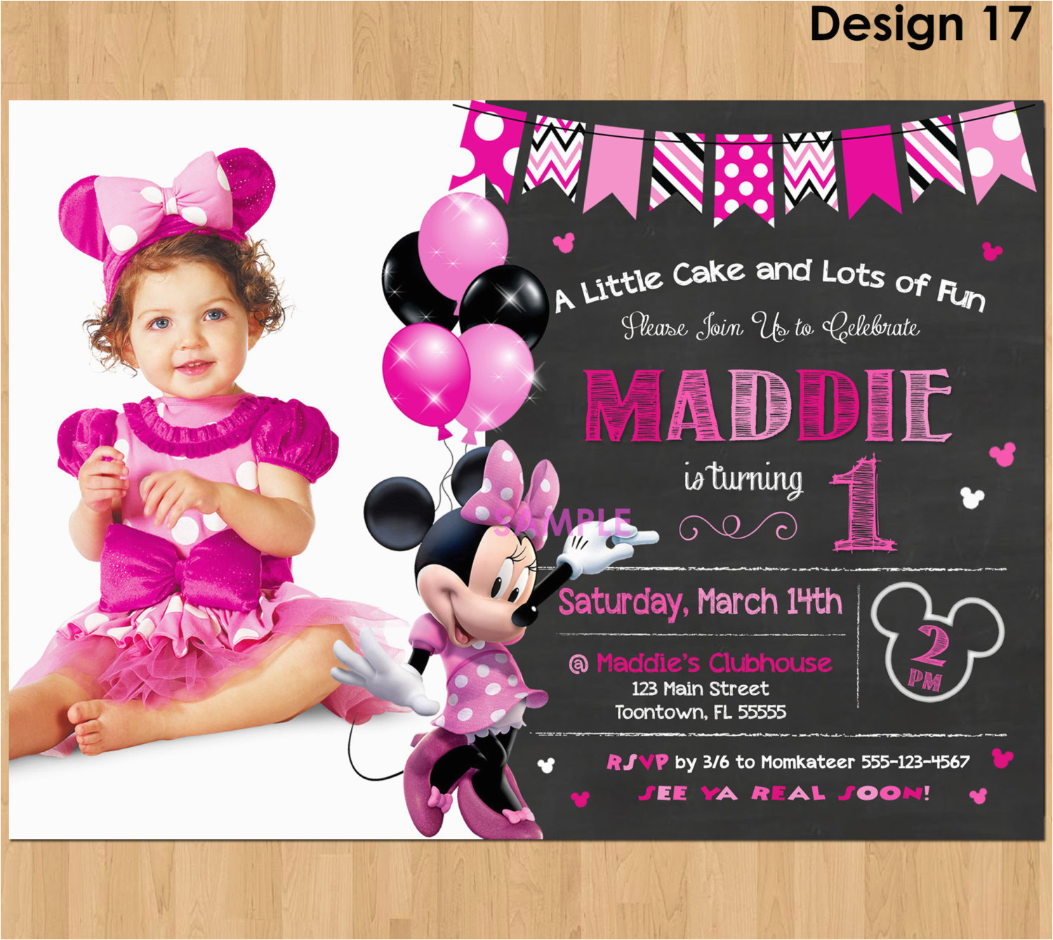 First Birthday Ecard Invitation Free Minnie Mouse Invitations Designs
