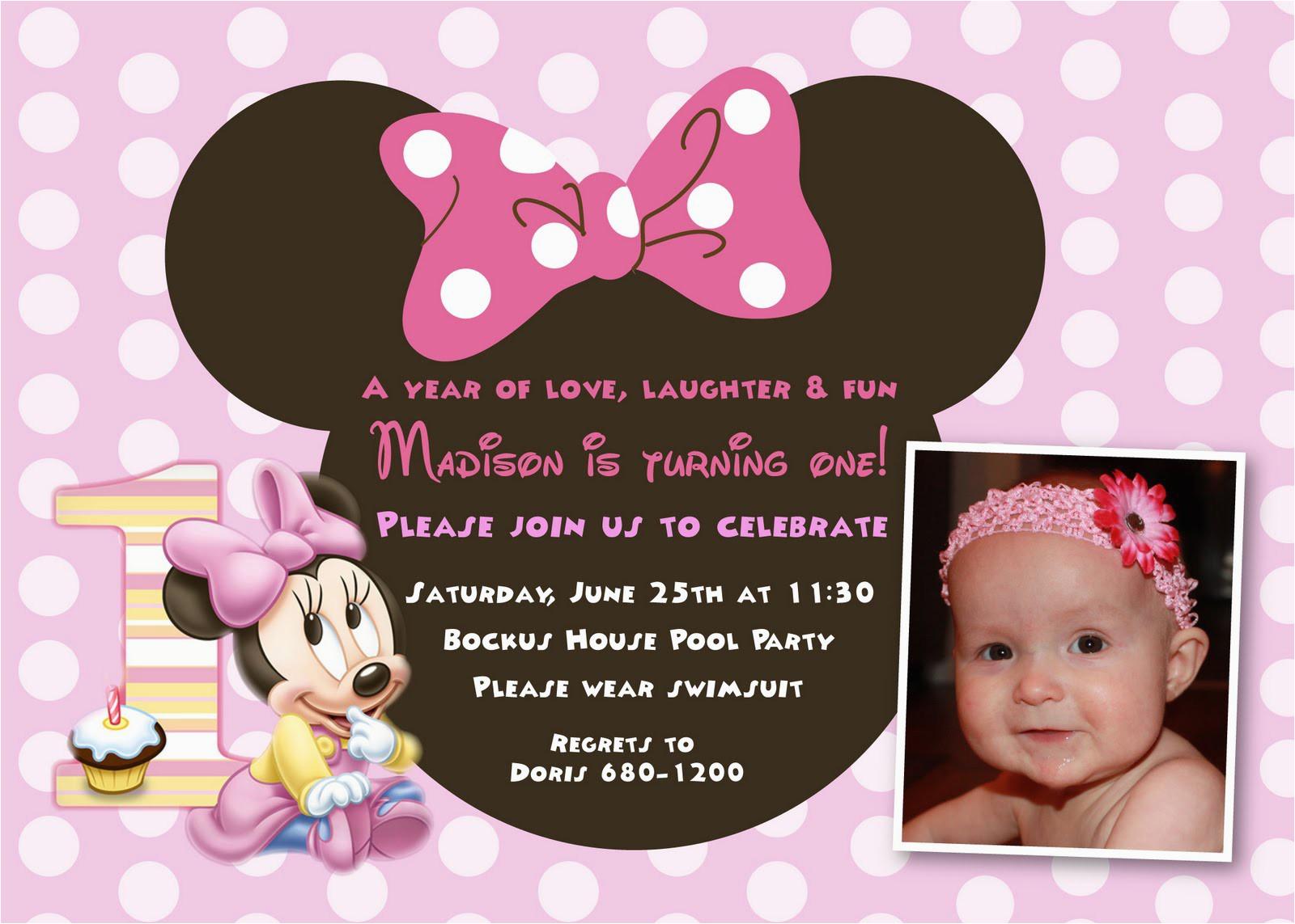 First Birthday Ecard Invitation Free Unique Ideas for Minnie Mouse 1st Birthday Invitations