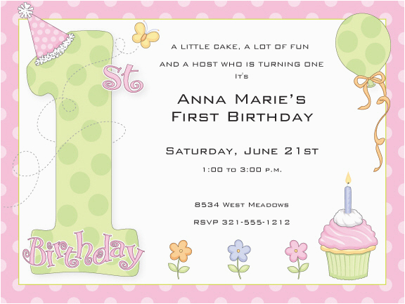 First Birthday Invitation Wording Poem 1st Party Girl