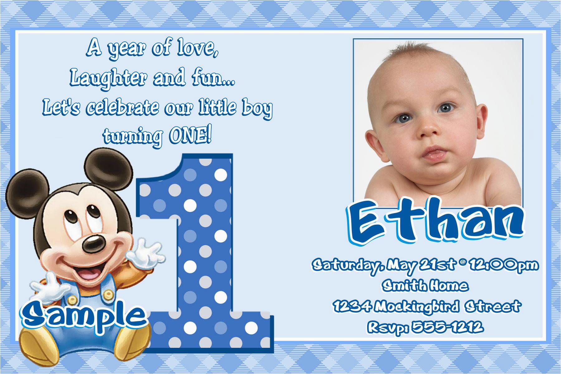 First Birthday Invitations Boy Wording Baby Mickey 1st Eysachsephoto Com