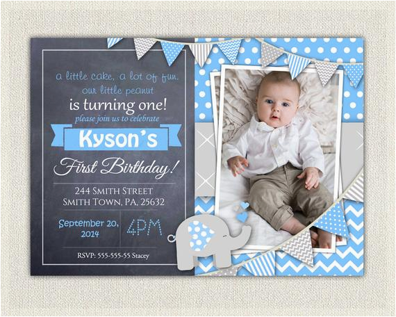 First Birthday Invitations Boy Wording Elephant Boys Blue Grey 1st Invitation Download