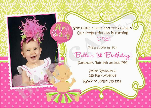 First Birthday Invite Message Invitation Wording And 1st
