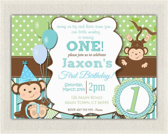 boys blue green monkey 1st birthday 2