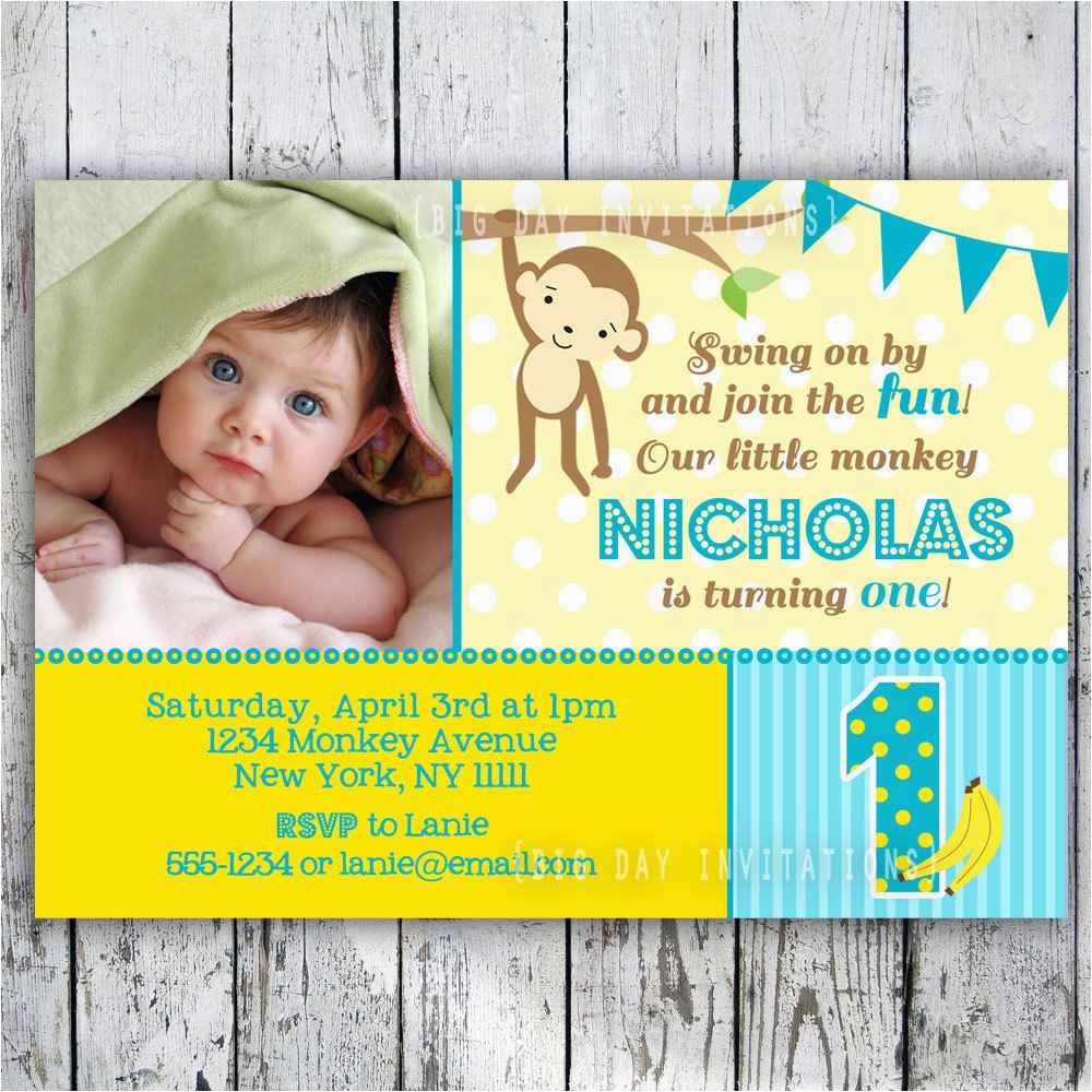 First Birthday Monkey Invitations Mod Monkey Birthday Invitation 1st Birthday Polka Dot