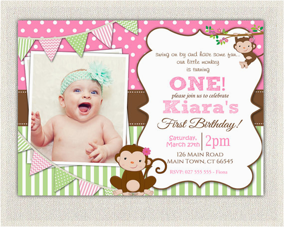 monkey first birthday invitations