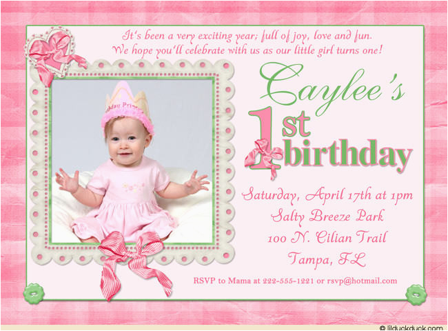 1st birthday invitations for baby girl 2