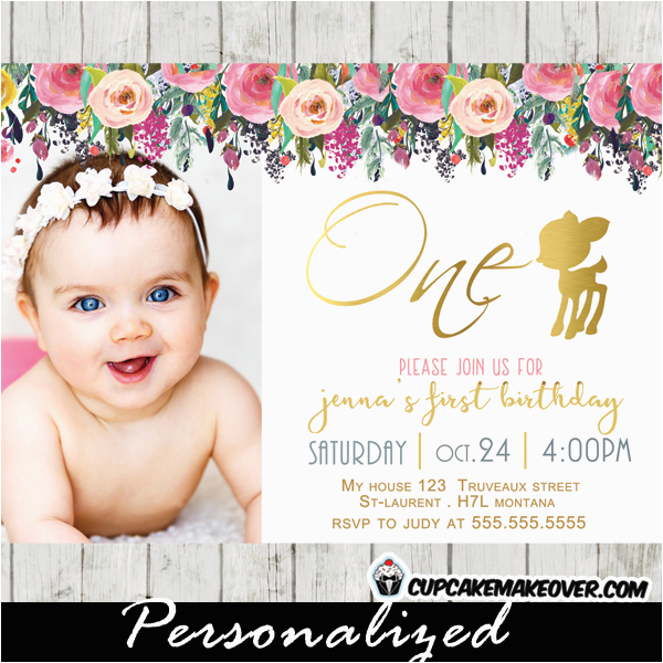willow deer first birthday photo invitation floral gold foil