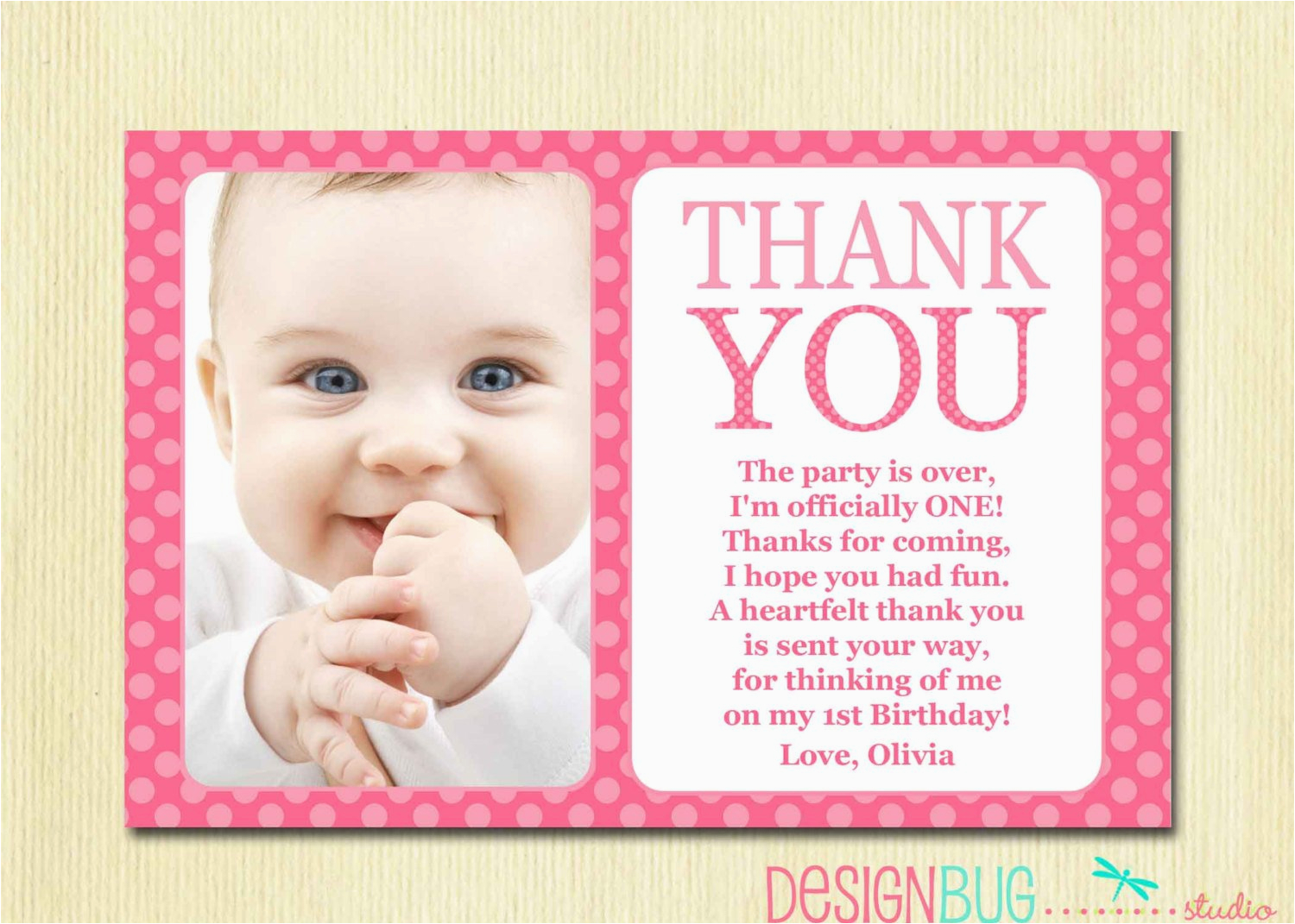 first birthday matching thank you card