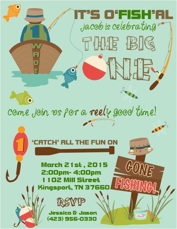 fishing theme invitation customized and
