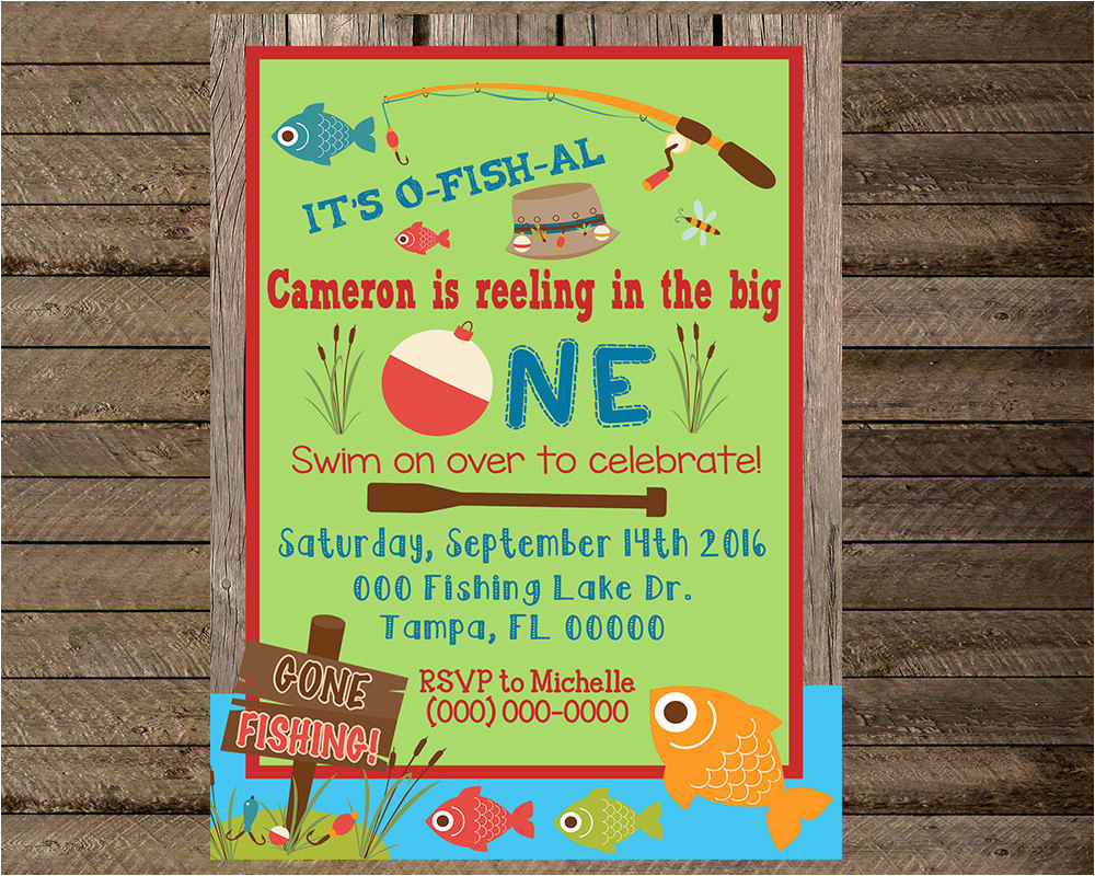 Fishing First Birthday Invitations Fishing Invite Fishing Invitation First Birthday Fishing