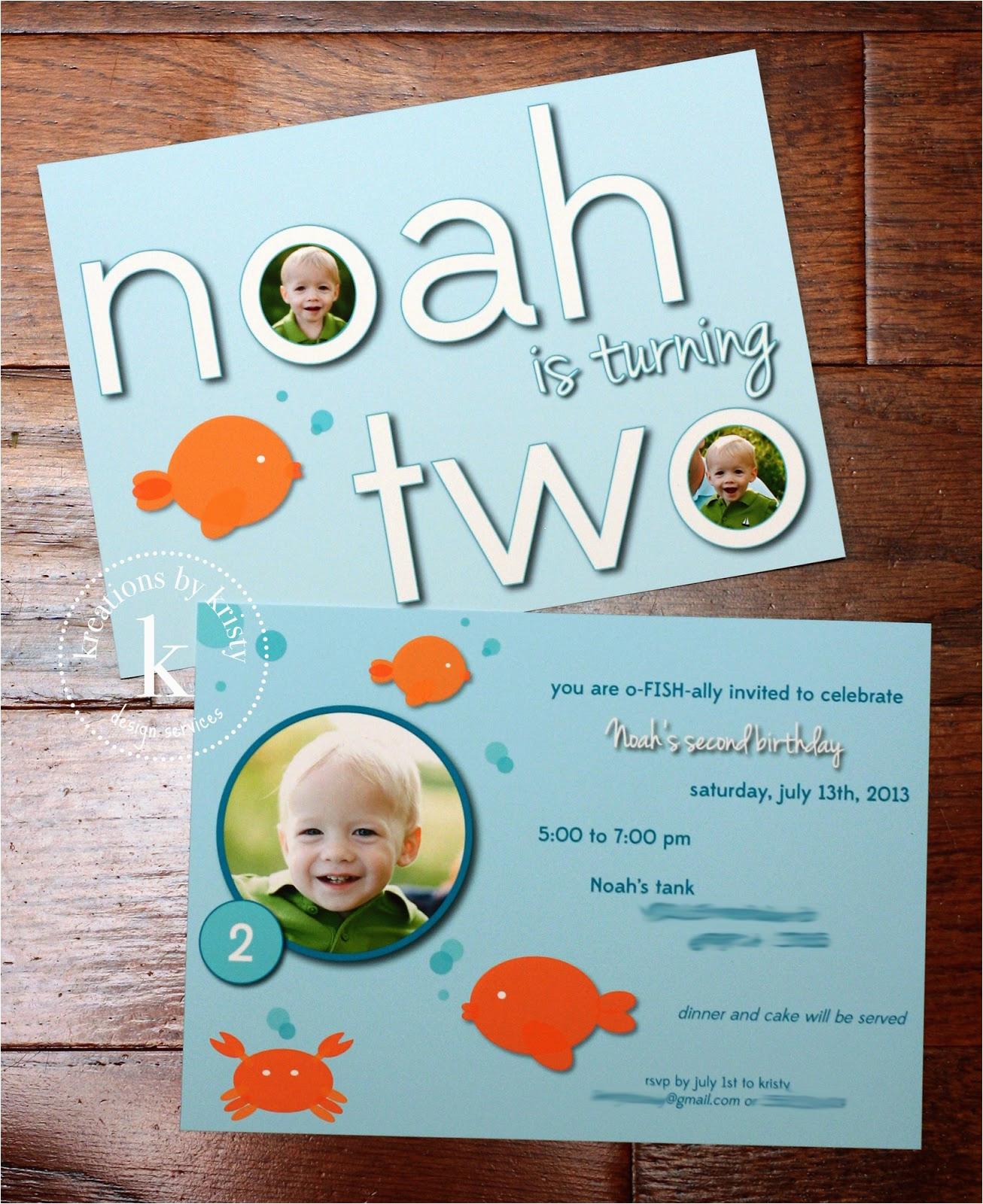 noahs fish themed second birthday