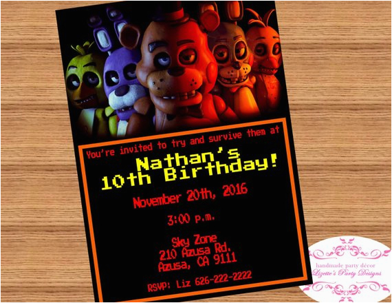Five Nights At Freddy S Birthday Party Invitations Fnaf 39