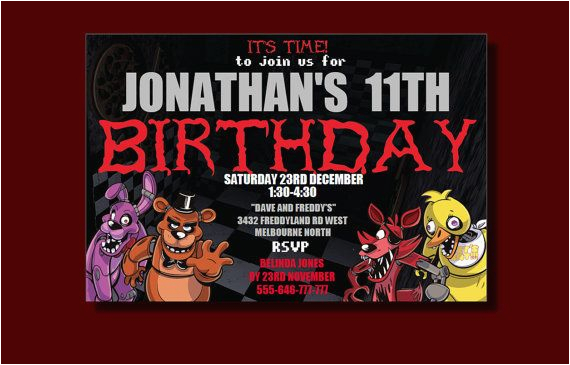 Five Nights At Freddy S Printable Birthday Invitations 39 Invitation