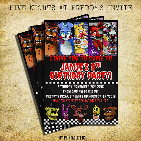 Five Nights At Freddy S Printable Birthday Invitations 39 Invitation Fnaf