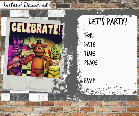 Five Nights At Freddy 39 S Invitations And Thank You Cards
