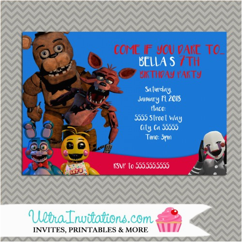 Five Nights At Freddy S Printable Birthday Invitations 39 Party Personalized