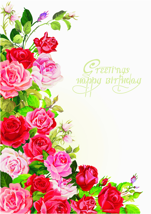 happy birthday flowers greeting cards 02 free download
