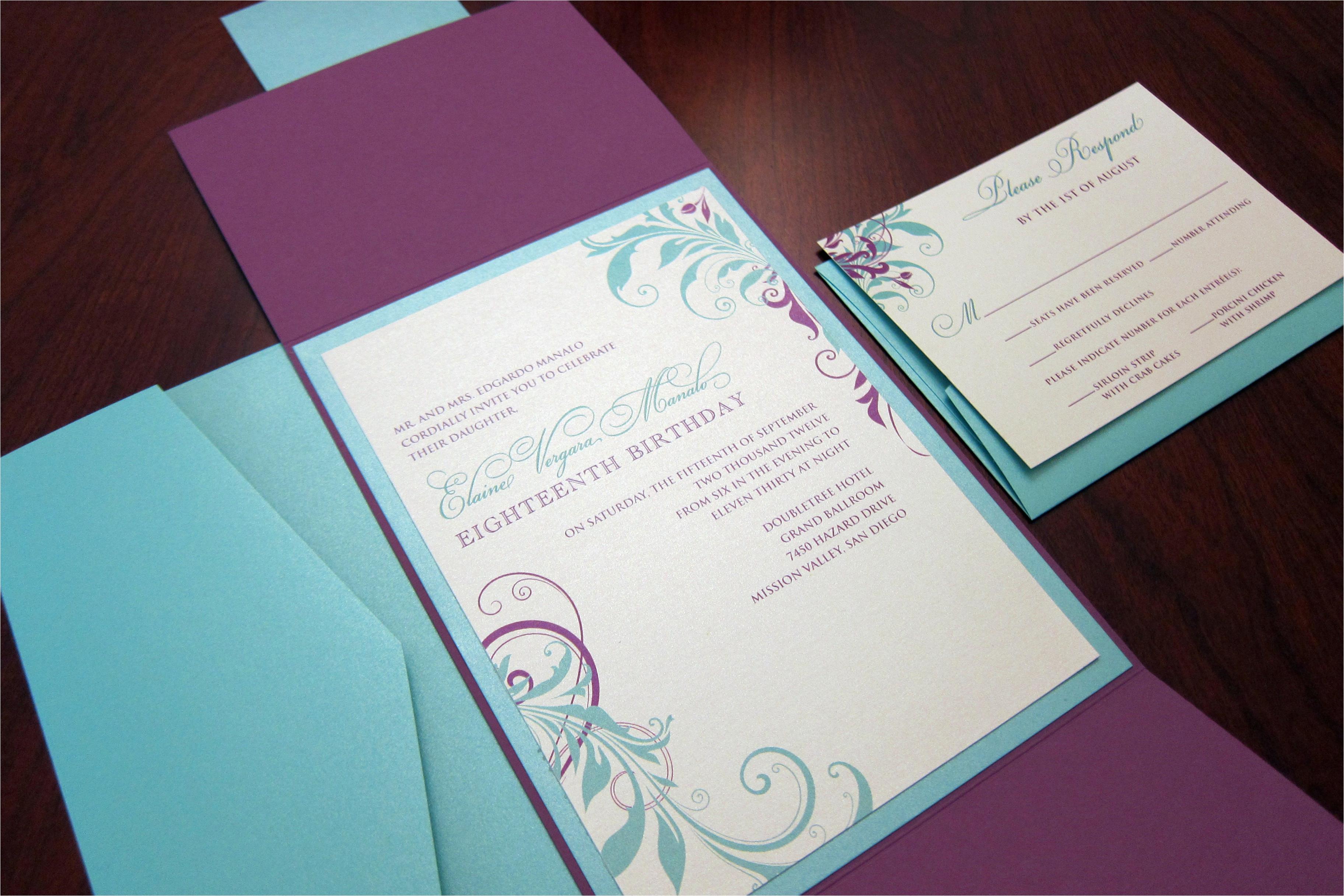Folded Birthday Invitations Purple Tiffany Blue Birthday Invitation Gate Fold