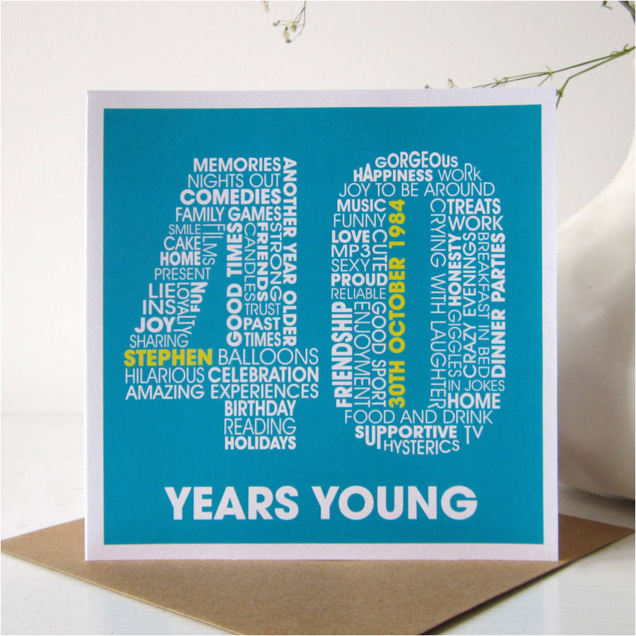 Fortieth Birthday Cards Personalised 40th Birthday Card by Mrs L Cards