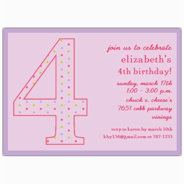 4th birthday girl dots invitations p 602 57 1037